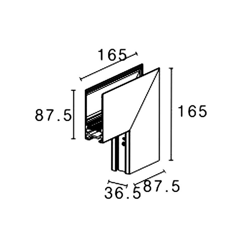 Внутренний угол для накладного и подвесного магнитного трека