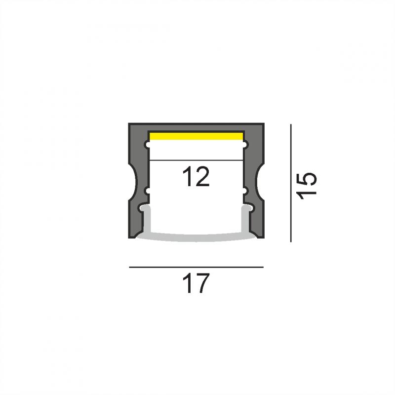 LW-AS2 накладной профиль 2500 мм