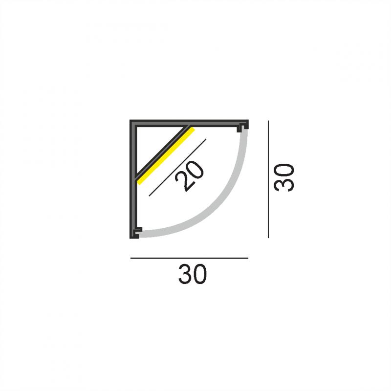 LW-AC5 угловой профиль 2000 мм