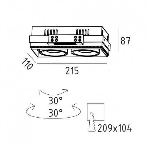 GRILL.10х2T карданный безрамочный светильник 2х10W