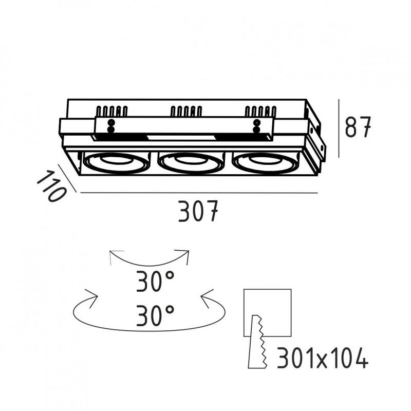 GRILL.10х3T карданный безрамочный светильник 3х10W