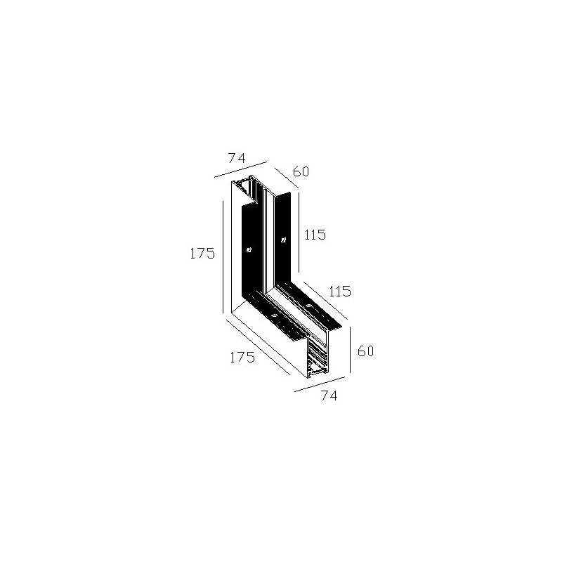Внутренний угол 90° для встраиваемой магнитной системы 48 V