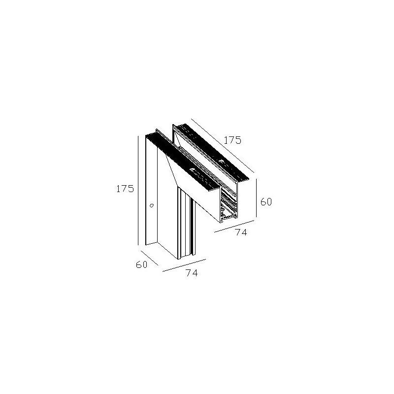Наружний угол 90° для встраиваемой магнитной системы 48 V