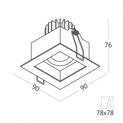 FORT.10 встраиваемый потолочный светильник / Бренд VOLTA / DL0014