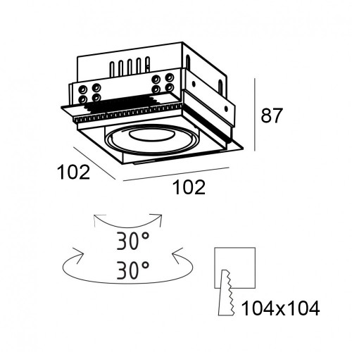 GRILL.10T карданный безрамочный светильник 10W