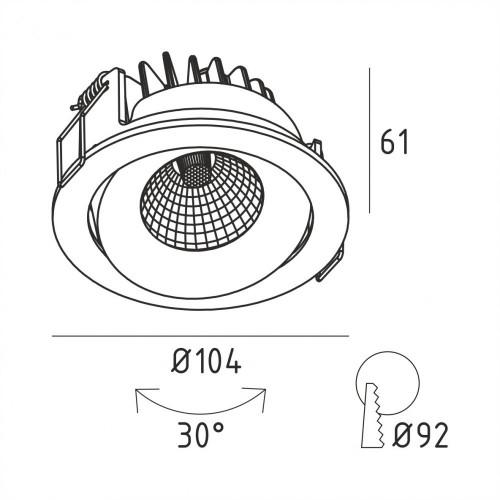 ALFA.13MIX черный встраиваемый поворотный светильник 13W